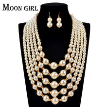 online shopping india simulated Pearl making chocker 2016 Fashion African Beads Jewelry Set statement necklace set for women(China)