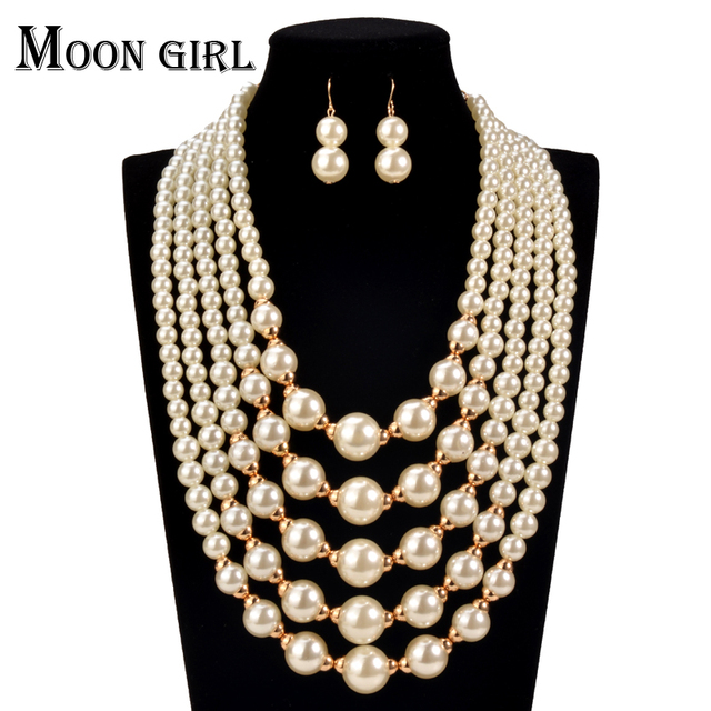 online shopping india simulated Pearl making chocker 2016 Fashion African Beads Jewelry Set statement necklace set  for women