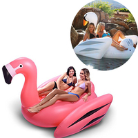 190CM Pink Inflatable Flamingo Pool Float Giant Swan Boia Inflatable Swimming Ring Buoy Swim Float Pool Toys Party Piscina Boias