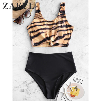 цена на ZAFUL Women High Waist Separate Female Swimsuit Leopard Animal Print Knotted Mix And Match Tankini Swimwear Bikinis 2019 Mujer