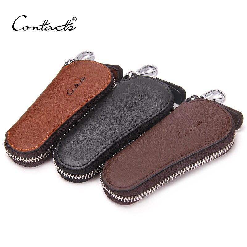 CONTACT S Men Genuine Cow Leather Bag Car Key Wallets Fashion Women  Housekeeper Holders Carteira Keychain Zipper Key Case Pouch 3932b0b6f198