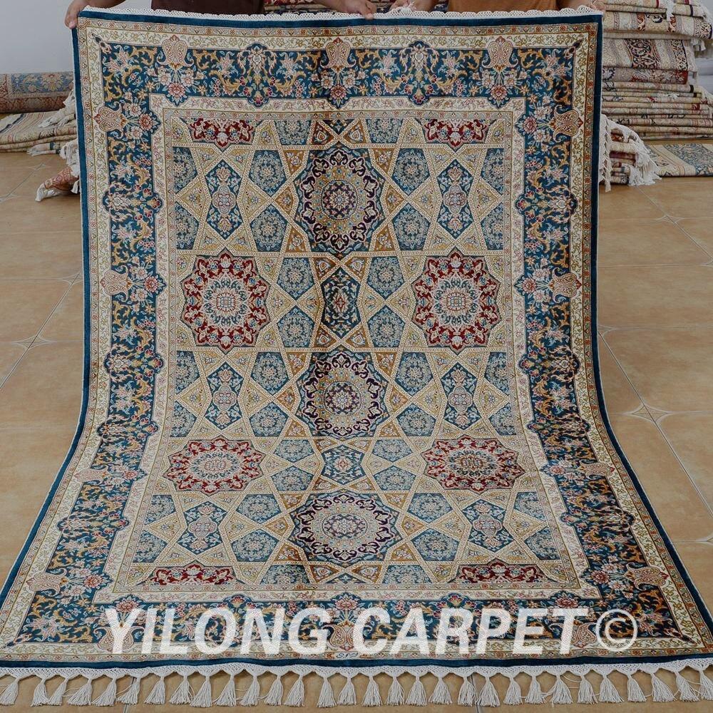 Yilong 4.6 'x6. 6' tapis en soie fait à la main exquis tapis en soie turque (1785)