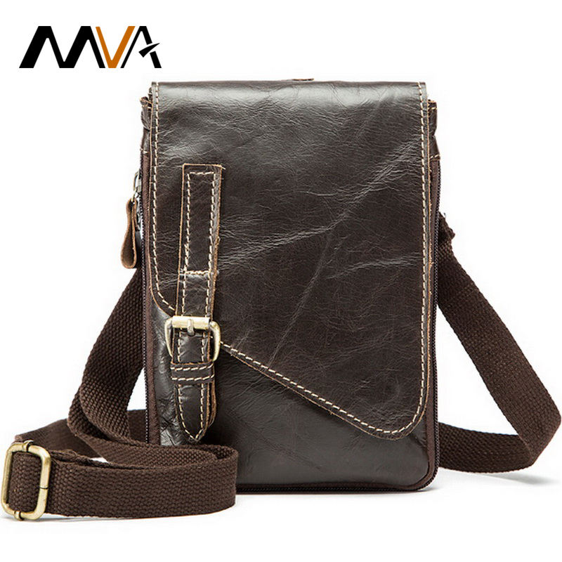 MVA Leather Mens Waist Bag Belt Genuine Leather Men Bag Small Travel Money Pack Men Messenger