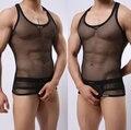 MANVIEW transparente Grande de malla de ropa interior masculina sexy chaleco desgaste máximo rendimiento sólo camiseta