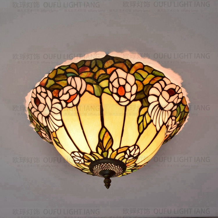 42cm American garden Lily Tiffany art glass  ceiling lamp bedroom dining room hall lamp42cm American garden Lily Tiffany art glass  ceiling lamp bedroom dining room hall lamp