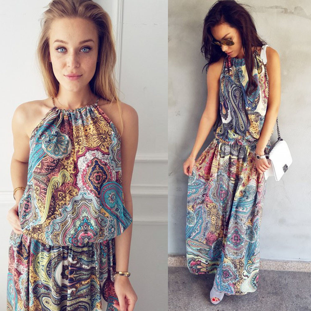 2019 Women Summer Dress Boho Style Floral Print Beach Dress  Long Maxi Evening Party Beach Floral Dress Vestidos Plus Size W0619