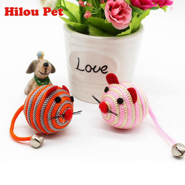 Colorful Cute False Mouse Ball Cat Toys With Bell Nylon Mice Cat Kitten Training Toy Products for Cat Dog Pet Supplies