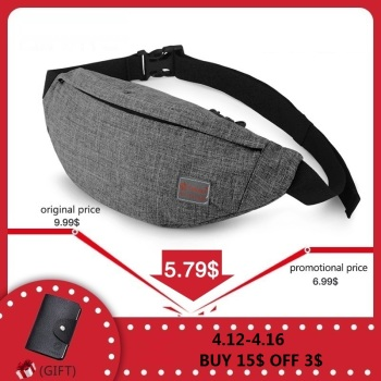 TINYAT Men Male Casual Functional Fanny Bag Waist Bag Money Phone Belt Bag T201 Gray Black buddhist rope bracelet