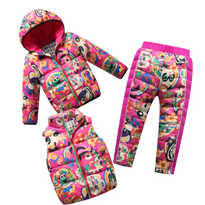 ФОТО Children Winter Suits Vest + Pants+ Jacket 3PCS Children's Clothing,Hoodie Outwear arka jackets winter jackets for girls boys
