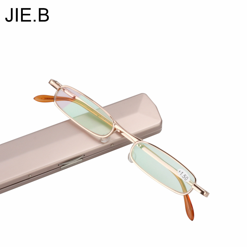 Mini Slim Reading Glasses Women Men Anti-fatigue alloy Spring Hinges Frame Glasses with case Gafas De Lectura+1+1.5+2+2.5+3.5+4