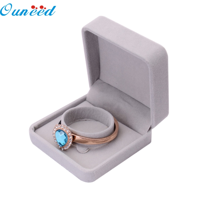 Ouneed Happy Home Luxurious Grey Velvet Presentation Gift Jewellery Ring Necklace Bracelet Display Box Case Fashion 1 Piece buried jewellery box