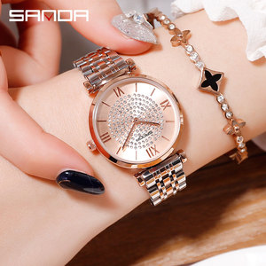 Image 1 - 2019 חדש SANDA נשים של שעון יוקרה פלדת חגורת צמיד אופנה שעון מראת זכוכית מינרל מזדמן עמיד למים קוורץ שעון