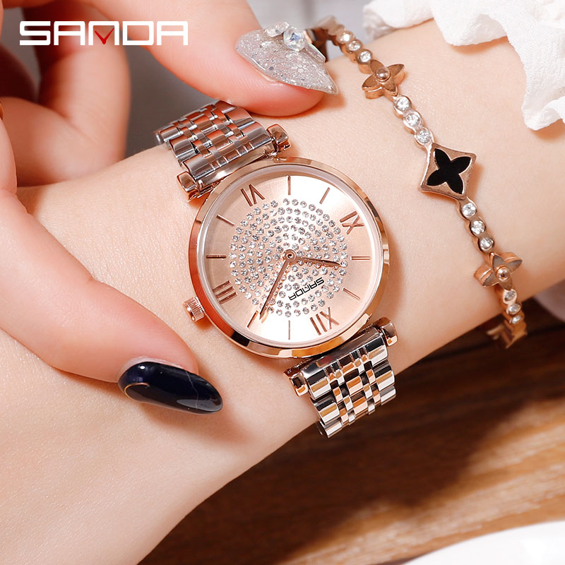 2019 New SANDA Women's Watch Luxury Steel Belt Wristband Fashion Watch Mineral Glass Mirror Casual Waterproof Quartz Watch