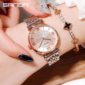 Image 1 - 2019 nuovo SANDA vigilanza delle donne di lusso cintura in acciaio wristband della vigilanza di modo specchio di vetro minerale casuale orologio al quarzo impermeabile