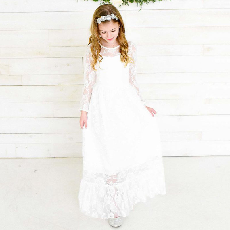White Lace   Flower     Girl     Dress   2-12 Year Old High Quality Kids   Dresses   for   Girls   Wedding Party Princess   Dress   2019 Spring Summer