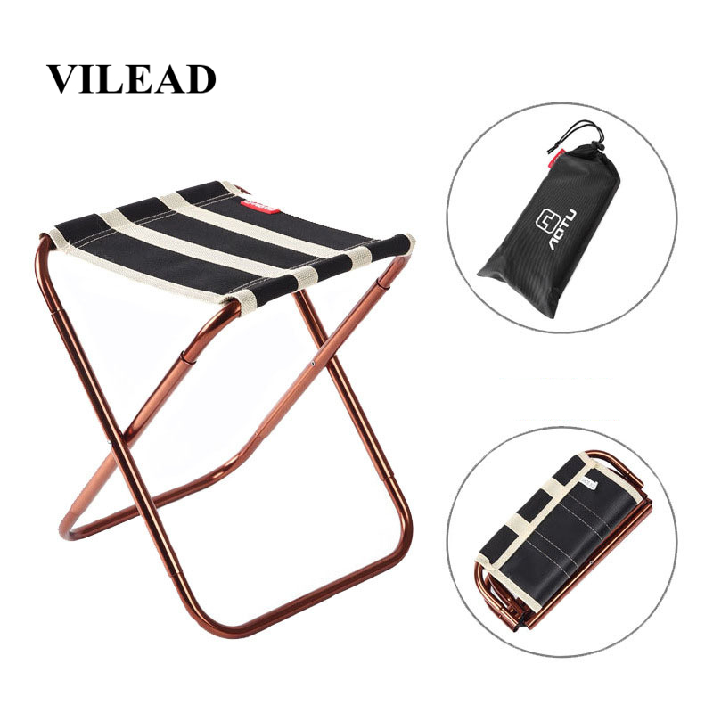 Image 2 - VILEAD 2 colors Portable Camping Stool Ultralight Folding Chair Aluminium Outdoor Picnic Beach Hike Fishing Foldable 22*23*28cm-in Camping Stools from Sports & Entertainment