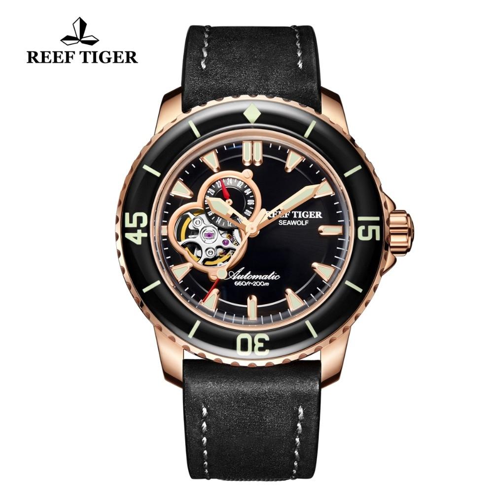 Reef Tiger RT Dive Sport Watches Men 200m Waterproof Watch Black Leather Strap Super Luminous Watch