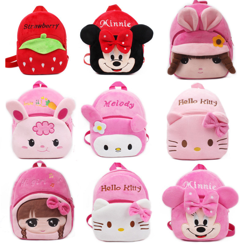 10pcs lot New girls pink schoolbag Cartoon design lovely Mickey Minnie plush backpack for kids