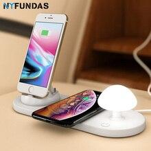NYFundas QI Kablosuz Hızlı şarj istasyonu standı Pad 3in1 için Hızlı Şarj iPhone Mikro Tip c Kablosuz Şarj Portu LED tablet