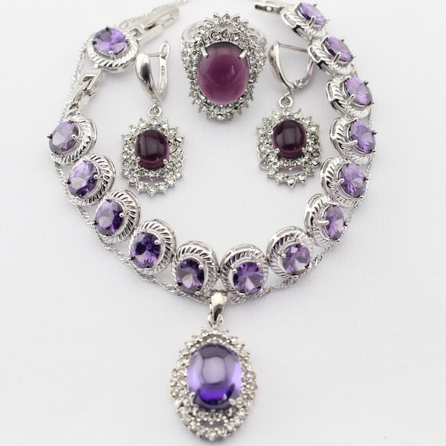 Round Silver Color Women Jewelry Sets Imitated Purple Amethyst Necklace Pendant Drop Earrings Rings  Bracelet Christmas Gift