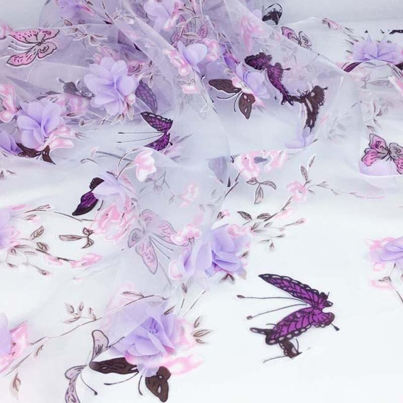 1 Cour Vêtements À Coudre Tissu pour la Robe, Largeur 130 cm, Africain En Mousseline de Soie Fleur Organza Rideau Tissus, Dentelle brodé En Tissu Bricolage