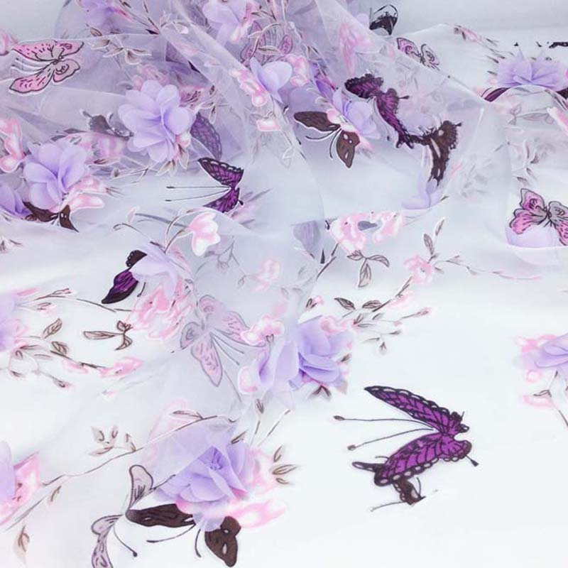 Tela floral de la organza de la boda de 1 yardas para el vestido, telas bordadas gasa de la impresión de la cortina, paño de costura de Diy del cordón de la ropa
