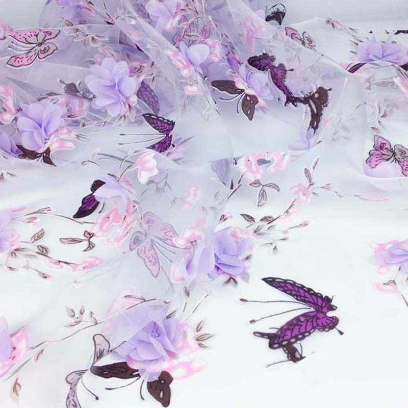 Afrykańska sukienka organza koronkowa tkanina, diy odzież do szycia materiał patchworkowy, 3D szyfonowy kwiat kurtyna nadruk z motylem