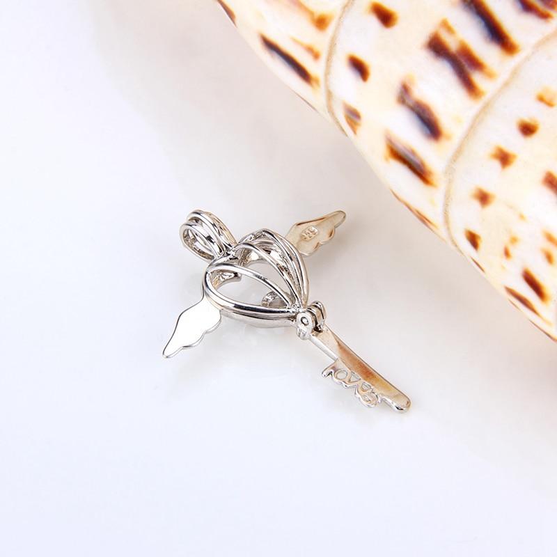Image 4 - CLUCI 3pcs Romantic Angel Wing Silver 925 Key Pearl Pendant Locket Women Fine Jewelry 925 Sterling Silver Cage Pedant Locket-in Pendants from Jewelry & Accessories