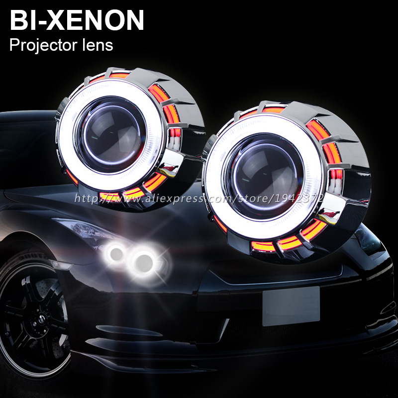2.8 Inches HID Bi Xenon Projector Lens Double Dual Angel Eyes Hola Ring for H1 H4 H7 Car Bixenon Headlight Replacement Light lhd 3 inch hid bixenon projector lens double angel eye ccfl h7 h4 2pcs 35w slim ballasts 4300k 6000k 8000k use h1 xenon bulb