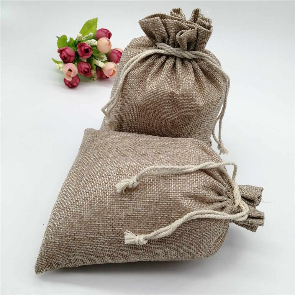 50pcs 15x20cm יוטה יוטה מתנת תיק שרוך שקיות מתנת עם ידיות פשתן מתנת אריזת שקית יוטה שקיות לחתונה סוכריות תיק