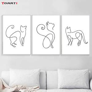 Image 2 - Minimalista Animale Stampe Poster Divertente Gatto della Tela di Canapa Pittura Sulla Parete Per Bambini Scuola Materna Camera Da Letto Complementi Arredo Casa di Arte Moderna Immagini