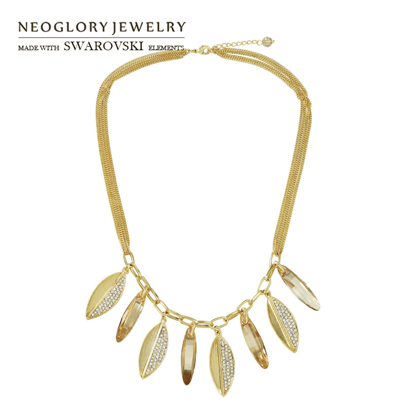 все цены на Neoglory MADE WITH SWAROVSKI ELEMENTS Crystal & Rhinestone Pendant Necklace Leaves Exquisite Design Alloy Plated Women Trendy