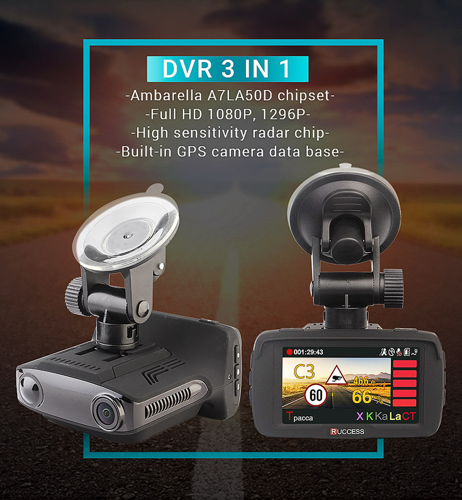 RUCCESS Ambarella Video Recorder 3 in 1 DVR GPS Radar Detector Full HD 1296P Speedcam Car Camera Anti Radar Detectors Dash Cam 8