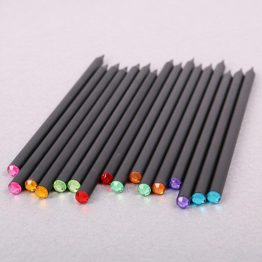 DIY Cute Kawaii Black Wood Pencil HB Acrylic Diamond Standard Pencil For Drawing Painting Supplies 12 PCS/Lot