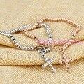 New Designer Women Accessories Silver Rose Gold Choose Stainless Steel Bead Bracelet With Cross Pendant Rosary Bracelets