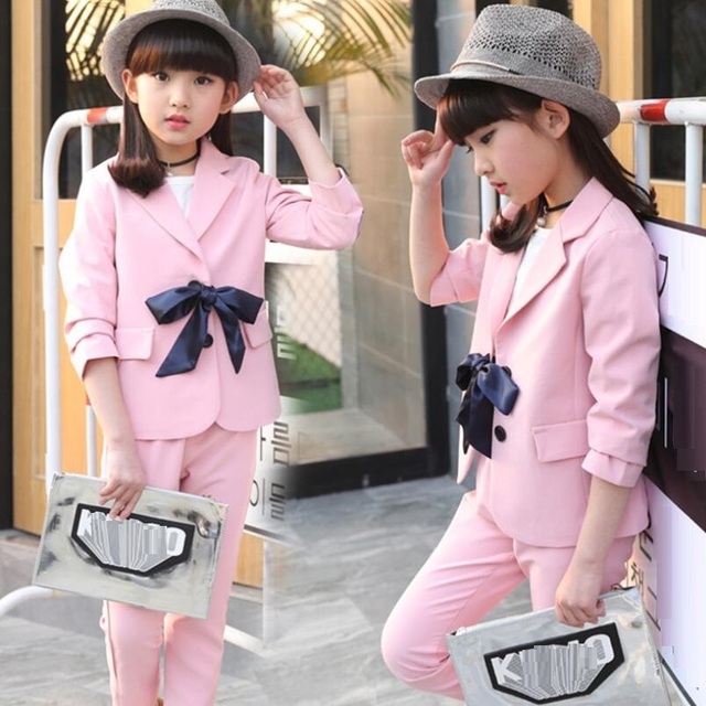 287449ba7352 2018 Spring Fall Fashion Casual Baby Teen Suits Girls Clothing Sets ...