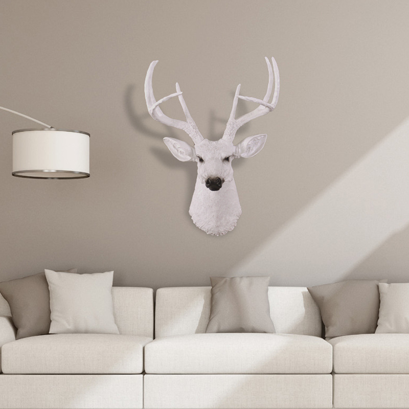 European Simulation Resin Moose Head Hanging Nordic Living Room Wall Decoration Mural American Retro Animal Head Pendant