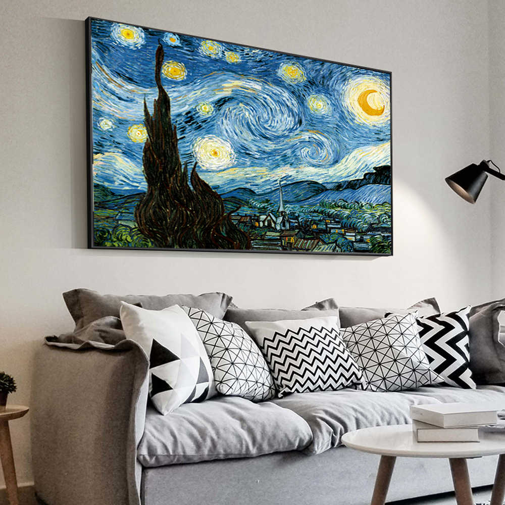 Impressionist Van Gogh Starry Night Oil Paintings Print On Canvas Starry Night Decorative Pictures For living Room Cuadros Decor