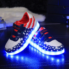 Children 7 Colors USB Rechargeable LED Flag Print Shoes Flash Fluorescent Sneakers Girls Led Sneakers Kid Boys LED Sneaker