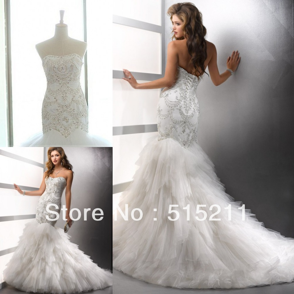 Real Sample Luxury Embroidery Corset Feathered Wedding Dress With Drop Waist Trumpet Mermaid Bridal Gown Free Shipping In Dresses From