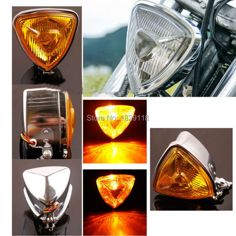 ARIS Style Triangular Motorcycle Headlight Custom Chrome H6 3 Prong Connector HD