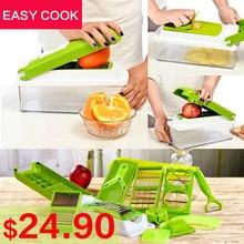 12 STÜCKE set Slicer Gemüsereibe Obst Schäler Cutter Shredder Chopper Mit Schutz multifunktionale Manuelle Gemüse werkzeuge