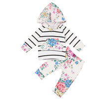 Pudcoco Newborn Infant Baby Girls Clothes Toddlers Cotton Cute Floral Long Sleevele Hooded T Shirt Tops