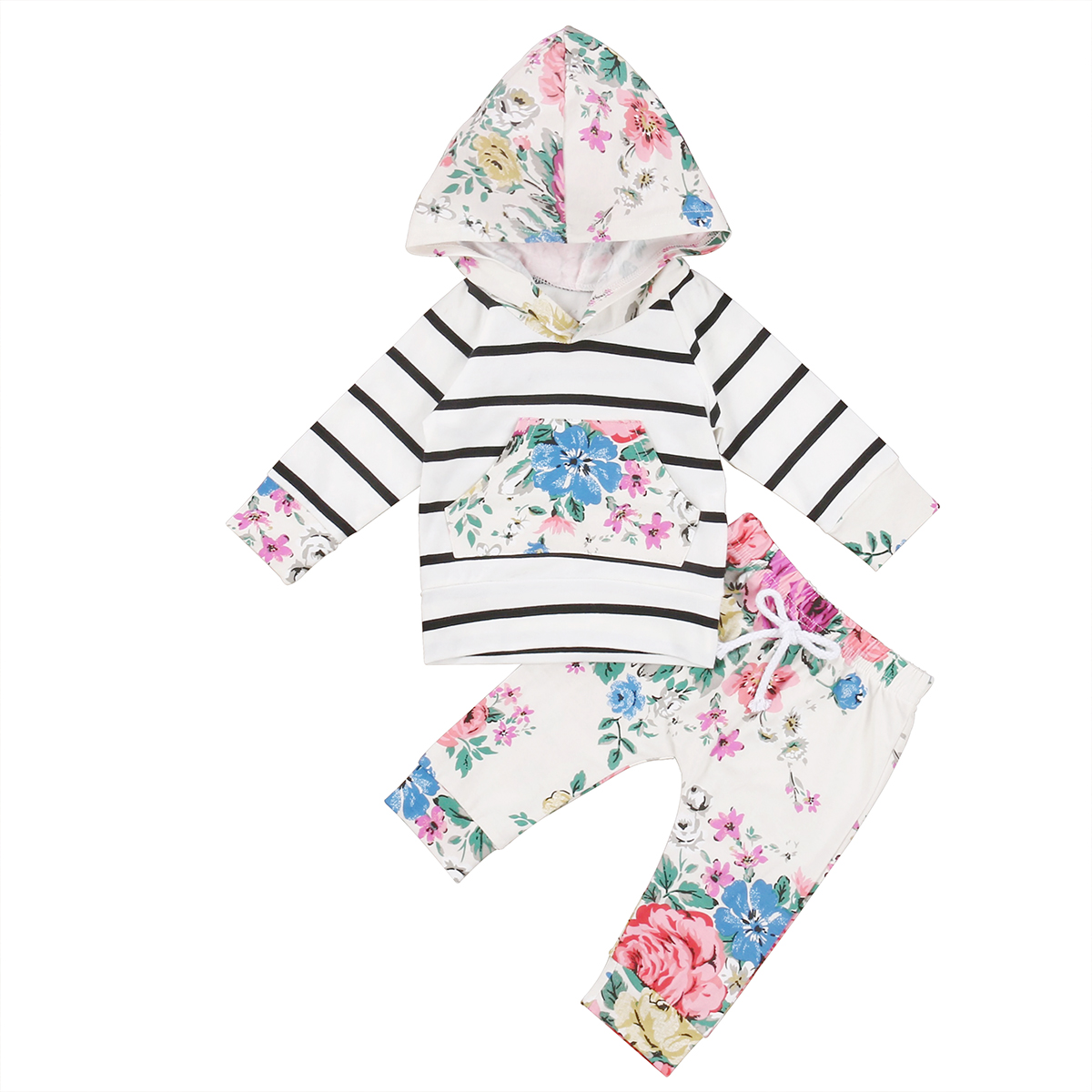 Pudcoco Newborn Infant Baby Girls Clothes Toddlers Cotton Cute Floral Long Sleevele Hooded T-shirt Tops+Pants Outfits Set 2017 cute floral infant baby girls summer flower romper sunsuit headband cotton outfits set clothes
