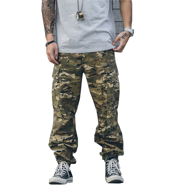 2017 fashion loose Full Length Pants Men cargo Army green camouflage pants  Trousers Fitted Bottoms hip