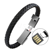 Mini Micro USB Bracelet Charger Data Charging Cable Outdoor Portable Leather Sync Cord For iPhone6 6s Android Type-C Phone