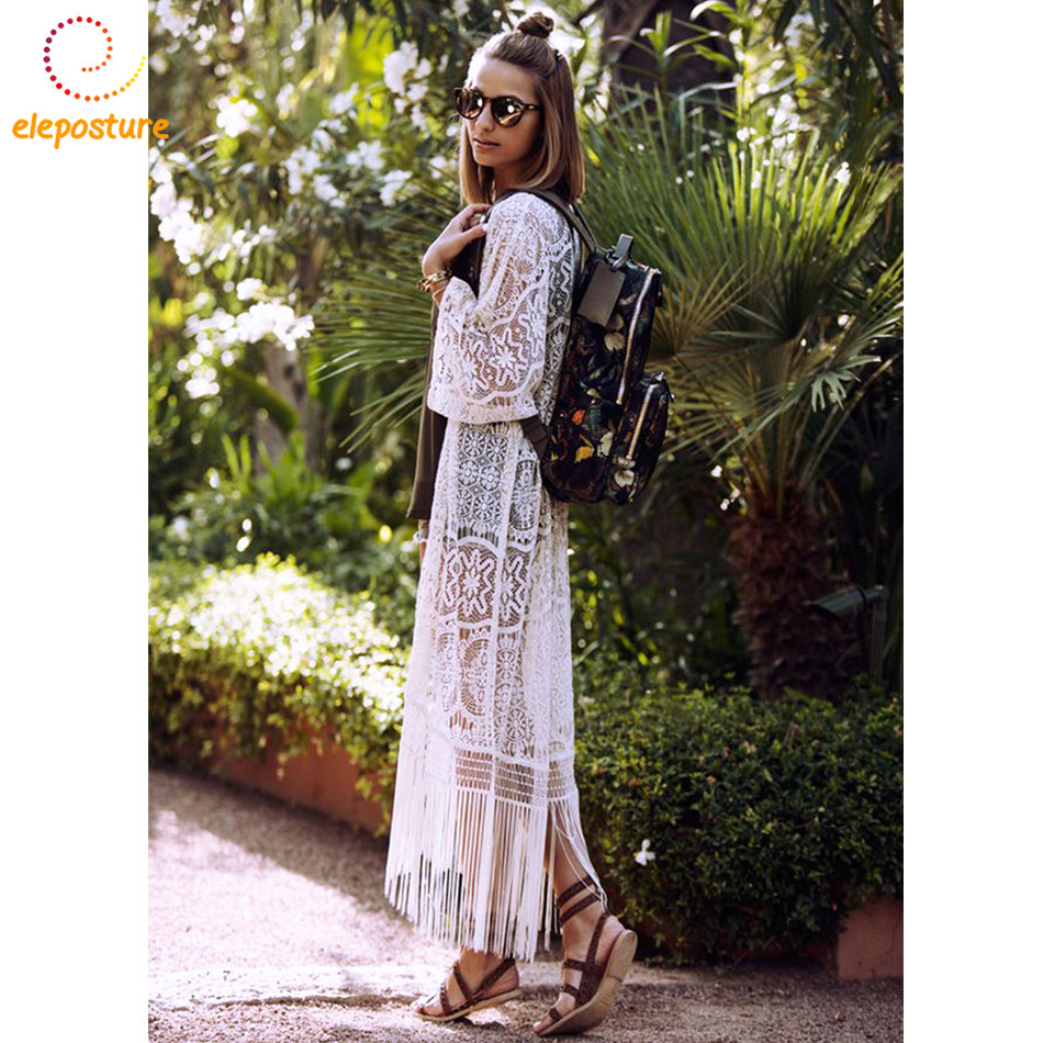 цена на 2018 Sexy Lace Beach Cover Up White Bikini Swimwear Cover Up Long Beach Dress Ladies Bathing Suits Cover-Ups Tassel Beach Wear