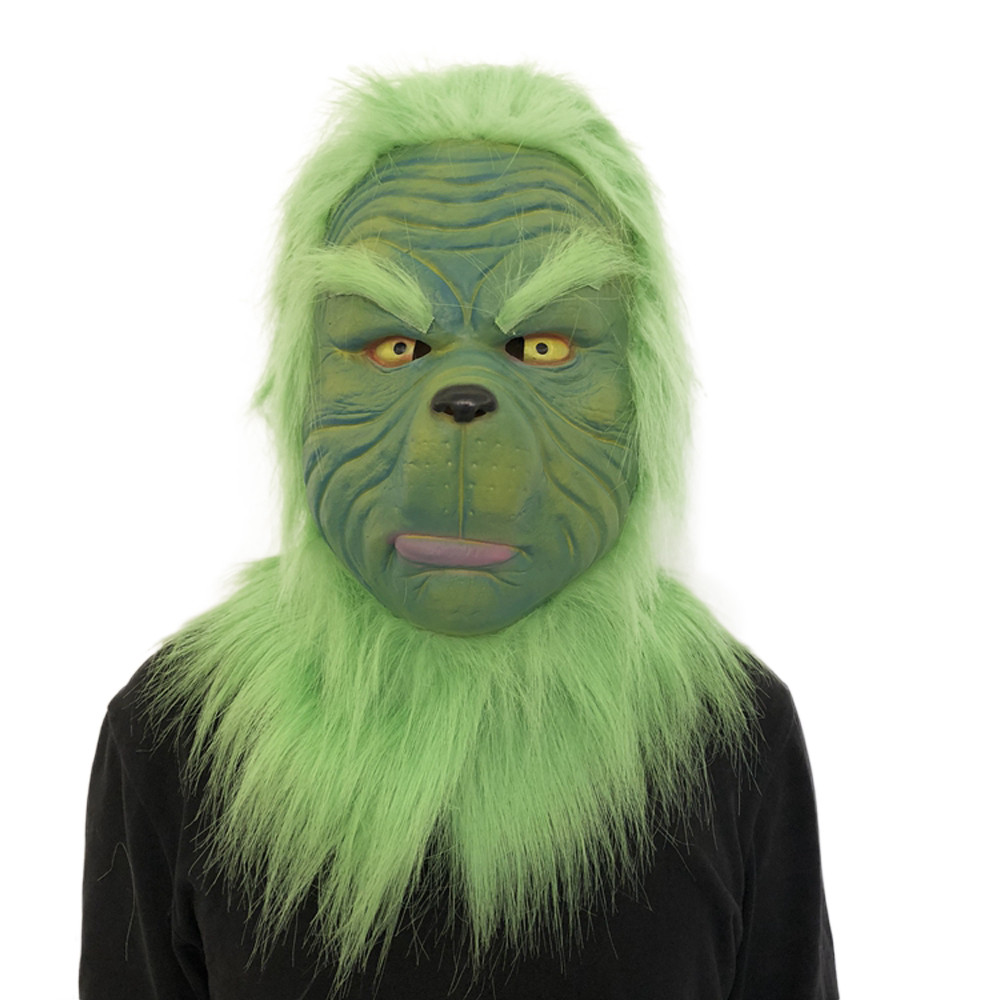 Cosplay Grinch Mask Melting Face Latex Costume Collectible Prop Scary Mask Toy 11.21