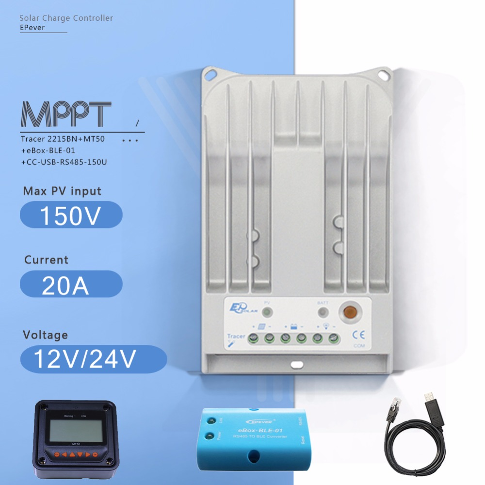 Tracer 2215BN 20A MPPT Solar Charge Controller 12V 24V Auto solar Charge Regulator with MT50 Meter Ebox BLE Module and USB Cable tracer 4215b 40a mppt solar panel battery charge controller 12v 24v auto work solar charge regulator with mppt remote meter mt50