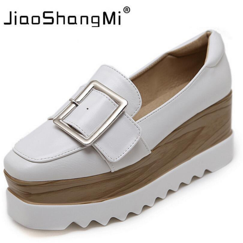 2017 White Women Sneaker Flat Platform Leather Slip-On Square Toe Oxford Shoes For Women Platform Autumn Winter Fashion Creepers casual square toe and slip on design flat shoes for women
